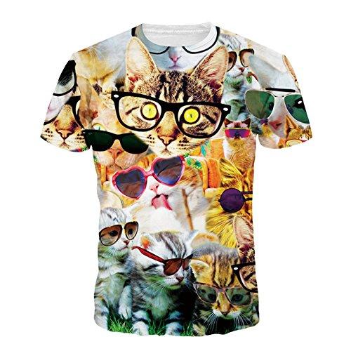 Moda Talle Bajo Verano Del Gato Del Gatito Con Los Vidrios Para Camisetas Hombre