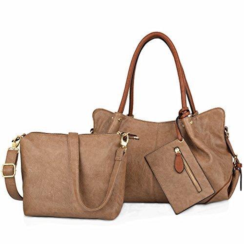 UTO Damen Handtasche Set 3 Stücke Tasche PU Leder Shopper klein Schultertasche Geldbörse Trageband Schlamm Farbe (Uhrarmband-geldbörse)