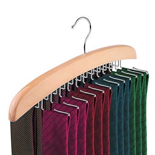 Topgoods Krawattenhalter Krawattenbügel für 24 Krawatten Gürtelhalter Holz Kleiderbügel