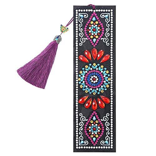 YanHeMingKeJi - Segnalibro in pelle, a forma di mandala, con nappa, per fai da te, idea regalo Misura A