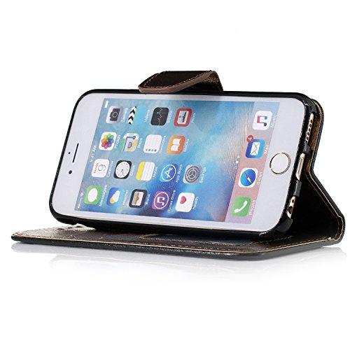 Coque pour iPhone 5 5S 5G / iPhone SE,Housse en cuir pour iPhone 5 5S 5G / iPhone SE,Ecoway motif de soie étui en cuir PU Cuir Flip Magnétique Portefeuille Etui Housse de Protection Coque Étui Case Co noir