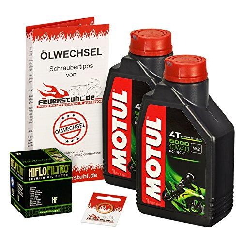 Motul 10W-40 Öl + HiFlo Ölfilter für Yamaha Raptor 700 /SE (YFM 700 R), 06-15 - Ölwechselset inkl. Motoröl, Filter, Dichtring