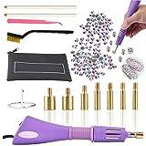 Hotfix - Aplicador de pedrería con 7 puntas de diferentes tamaños, pinzas, cepillo de limpieza, 2 lápices y diamantes de imitación