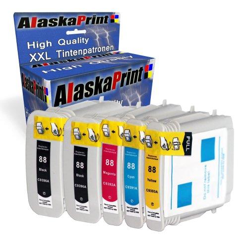 Hp Drucker-tinten L7680 (5er Set Druckerpatronen Ersatz für Hp 88 XL Original alaskaprint Tinte, 2x black, je 68ml + 1x Cyan, 28ml + 1x Magenta, 28ml +1x Gelb, 28ml Hp C9396AE / C9385AE-7 ( 88 xl , hp88xl) , schwarz, bk , rot, blau, yellow)