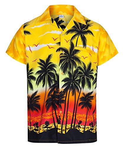 Redstar Fancy Dress Herren Hawaiihemd - kurzärmelig - Palmenmotiv - Verkleidung Junggesellenabschied - alle Größen - Gelb - - Herr Herren Fancy Dress Kostüm