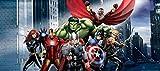 1art1 77459 The Avengers - Thor, Hulk, Iron Man Vereint Fototapete Poster-Tapete 202 x 90 cm