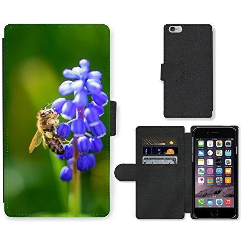 Just Mobile pour Hot Style Téléphone portable étui portefeuille en cuir PU avec fente pour carte//m00138513insectes Bee Fleur Violet fermeture//Apple iPhone 6Plus 14cm