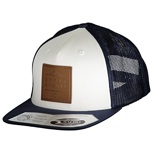 Scott Weiß Logo (Scott Leather Patch Cap Mütze blau/weiß)