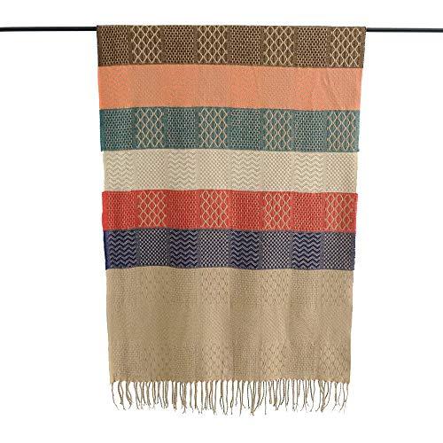 GAOQQ Nachahmung Pashmina Shawls Für Frauen, Ethnische Art-Bunte Gestreifte Knit Tassel Schal/Schal,Khaki - Gestreifte Wrap Cardigan
