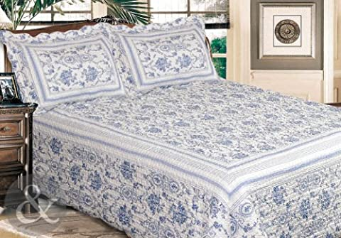 Just Contempo French Chic Quilted Bedspread Set, King, Blue
