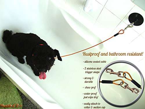 BathEz Dog Durable Bathing Cable Tub Restraint with Top Performance Strong Suction Cup and Collar 4