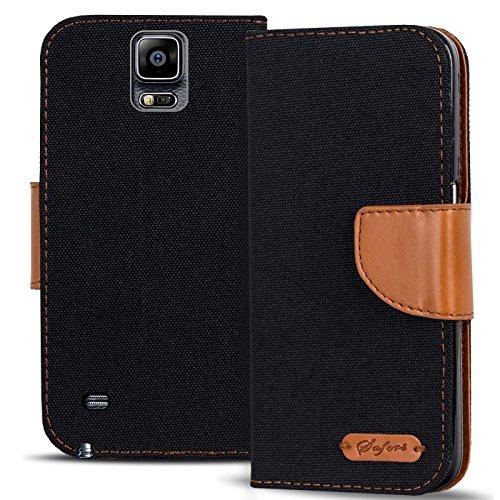 Verco Galaxy Note Edge Hülle, Schutzhülle für Samsung Galaxy Note Edge Tasche Denim Textil Book Case Flip Case - Klapphülle Schwarz