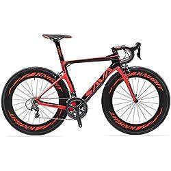 SAVADECK Phantom 2.0 700C Bicicleta de Carretera de Fibra de Carbono Shimano Ultegra R8000 22-Velocidad Sistema Michelin 25C Neumáticos Fi'zi: k Cojín (56cm, Negro Rojo)