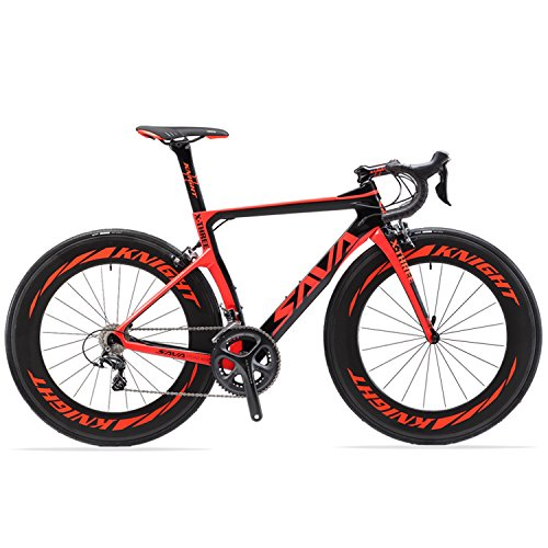 SAVA Carbon Road Bikes, Phantom3.0 700C Carbon Fiber Road Bike SHIMANO Ultegra 8000 22 Speed Group Set with MICHELIN 25C Tire and Fizik Saddle (Red,50cm)