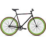 700c Se Bikes Draft Fixie Singlespeed Fixed Gear Bike für Damen ca 155 - 175 cm, Farbe:Schwarz, Rahmengrösse:49 cm