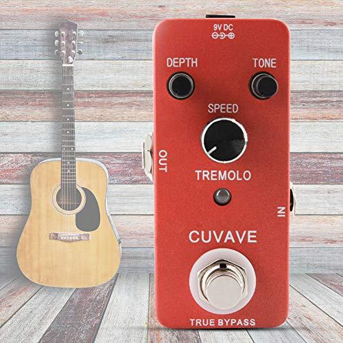 Sguan-wu Tremolo Pedal de efecto de guitarra Interruptor de bypass verdadero Accesorios de carcasa metálica completa - Rojo