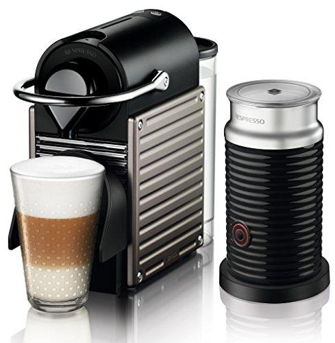 Nespresso Pixie Beige Krups - Cafetera monodosis (19 bares, Apagado automático, Sistema calentamiento rápido)