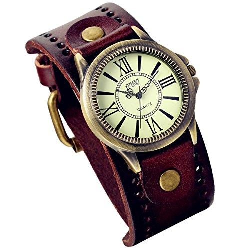 Lancardo Herren Damen Armbanduhr, Klassische Casual Analog Quarz Uhr mit römische Ziffern Zifferblatt, Leder Armband, braun