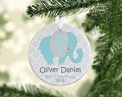 Dozili Baby 's First Christmas Ornament Personalisierte Weihnachtsdekoration Weihnachtsdekoration Ornament Elefant Baby Boy Ornament New Baby Geschenk