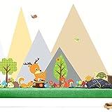 Wandora W1481 Wandtattoo Waldtiere I 80 x 55 cm I Mädchen Jungen Baby Wald Tiere selbstklebend Aufkleber Kinderzimmer Wandaufkleber Wandsticker