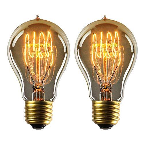 MYY Zuhause Dekorativ Edsion Glühbirnen A19 E27 Base 40W 140Lm Warmweiß 2700K 360° Strahl Winkel AC100-240V [2Pack] - 2er Pack Glühbirne A19