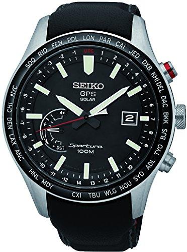 Seiko Herren Analog Solar Uhr mit Leder Armband SSF007J1
