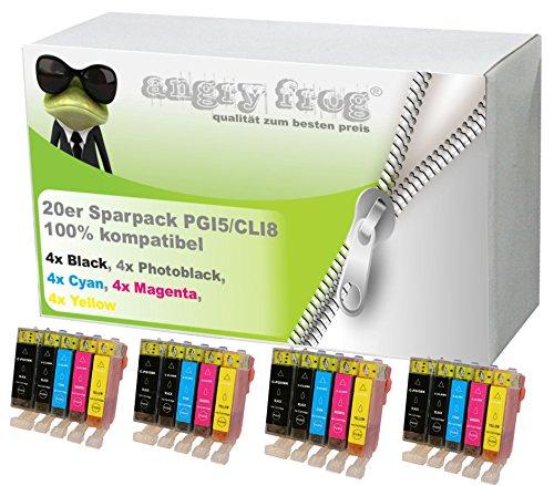 20 Druckerpatronen mit Chip für Canon Pixma IP-4200, IP-4300, IP-5200, IP-4500, IP-5200R, IP-5300, MP-500, MP-510, MP-530, MP-600, MP-600R, MP-800, MP-800R, MP-810, MP-830, ersetzt PGI-5 und CLI-8 (2 Regal-drucker Stehen)