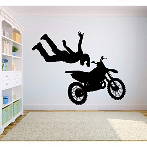 Wymw Wandaufkleber Free Style Dirt Bike Aufkleber Schlafzimmer Sport Dirt Bike Motorrad Personalisierte Jungen Teenager Zimmer 42 * 53 Cm (Gold Dirt Bike)