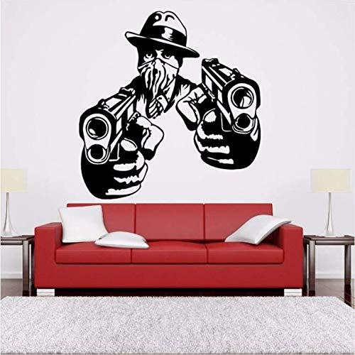 Chaoaihekele Gangsta Gangster Pistols Abnehmbare Pvc-Wandaufkleber Für Kindergarten Kinderzimmer Babys Schlafzimmer Kunst Dekoration Wandtattoos Wandbilder 56X56 ()