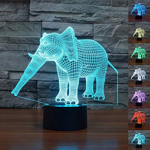 der Weihnachten Süß Geburtstagsgeschenk Urlaub Elefant Form Halloween 7 Farbveränderung Schlafzimmer Heimanwendung Schreibtisch 3D Illusion - Wie Abgebildet Show, a ()