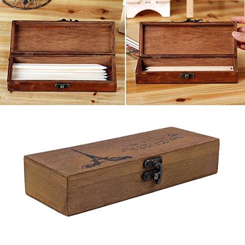 Swiftswan Wooden Pen Pencil Box für die Aufbewahrung von Stift und Bleistift Schreibwaren, Retro Eiffelturm Student Tools Aufbewahrungsbox (Stifte, Die Aussehen Wie Holz)
