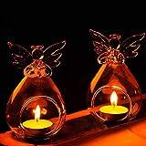 6 X Hanging Tea Light portacandele Modello Angel Glass Flower Flower Vase Bauble (Angel Candleholders)
