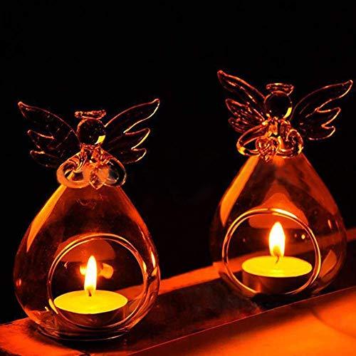 Warmiehomy 6 X Hängende Teelicht Kerzenhalter Teelichthalter Engel Muster Glas Pflanze Blumenvase mit Flügel Weihnachten Dekoration (Engel Kerzenhalter) -