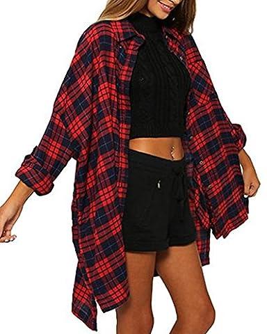 Minetom Femmes Boutons Plaid Chemise Carreaux Manches Longues Hauts Poche Cardigan Blouse Shirt Plaid FR
