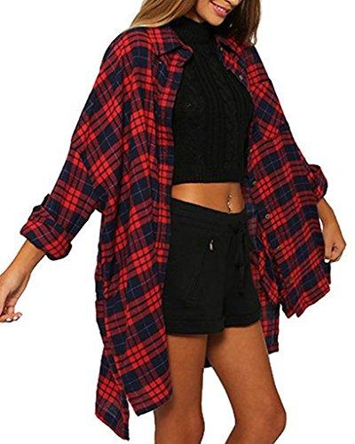 Minetom Donna Manica Lunga Universitaria Plaid Tasca Camicie Risvolto Camicia