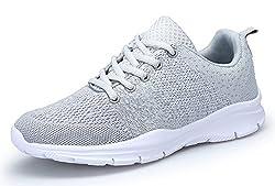 KOUDYEN Laufschuhe Atmungsaktiv Turnschuhe Schnürer Sportschuhe Sneaker für Herren Damen (EU35, Grau)