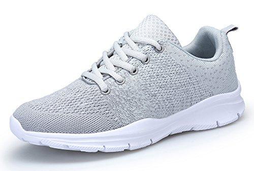 DAFENP Sportschuhe Laufschuhe Atmungsaktiv Leichte Turnschuhe Gym Fitness Sneaker für Herren Damen XZ747-M-gray-39EU