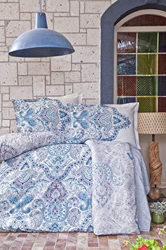ZIRVEHOME Bettwäsche - Set, 200x220 cm. Blau Farbe, Paisley Muster, 100% Baumwolle-Renforce, Mit Reißverschluss. Öko-Tex-Standard 100 Zertifiziert. Model: Paliza V1 -