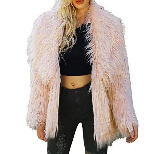 TEBAISE Damen Mantel Winter Elegant Warm Faux Fur Kunstfell Jacke Kurz Mantel Coat Herbst Winterjacke Mäntel Parka Westen Pullover