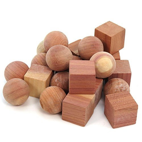 Hangerworld 20 Cedar Wood Anti-Scratch Inserts with Assorted Shapes for Cabinets and Drawers