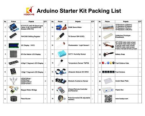 51%2BTMftk4IL - KOOKYE Uno R3 ATmega328 completo kit de arranque para Arduino con 19 proyectos