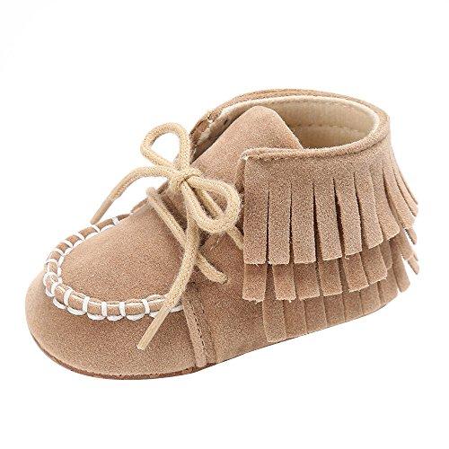 KonJin Säugling Neugeborenes Baby Mädchen Weiche Sohle Quaste Mokassin Krippe Schuhe Jungen Mädchen Schuhe Lauflernschuhe Krabbelschuhe 0-18 Monate