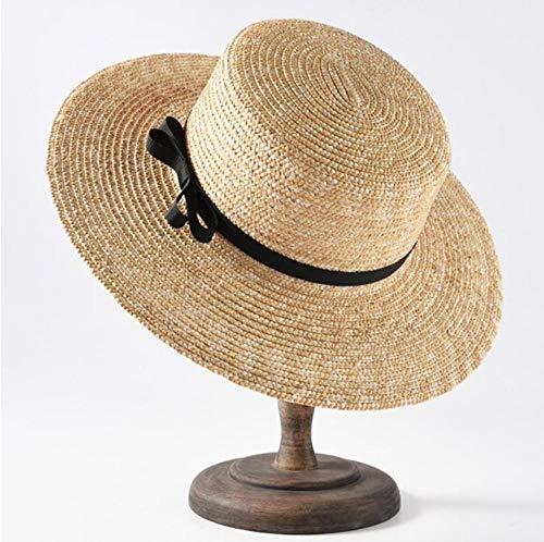 YANGFH Großhandel Top-Qualität Sommer Strand Hut breiter Krempe Stroh Boater Sonnenhüte für Frauen 56-58cm