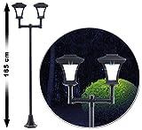 Royal Gardineer Gartenleuchte: 2-flammige Solar-LED-Gartenlaterne, SWL-25, 0,36 W, 24 lm, 185 cm hoch (Solar Wegeleuchten im Straßenlaternen Style)