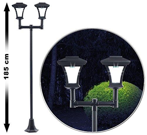 Royal Gardineer 2-flammige Solar-LED-Gartenlaterne, SWL-25, 0,36 W, 24 lm, 185 cm hoch