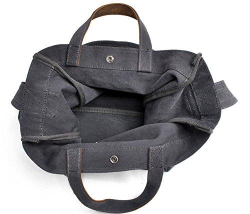 dunkelgrau YAAGLE neu Fashion Damen Handtasche Einfach Schultertasche Large Bag Shopper Segeltuch mit echt Leder Beutel dunkelgrau