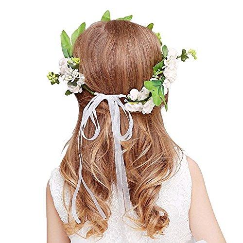 KMALL Bianca coroncina fiori capelli con bracciale fiore per sposa  damigella d onore bambina donna per festa matrimonio fotografia corona fiori  ghirlanda ... dfc613e82fd8