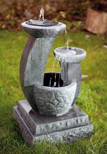 Style Solarbrunnen Solar Gartenbrunnen Caskaden Brunnen LED