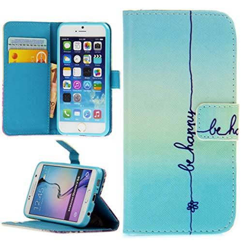 Handy Lux® Schutz Hülle Tasche Kartenfächer Flip Case Etui Cover Involto Motiv Design Hülle BookStyle für Samsung Galaxy S10, Be Happy -