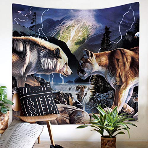 DWWSP Nordic Wolf Tapestry Art Home Colgante Pared
